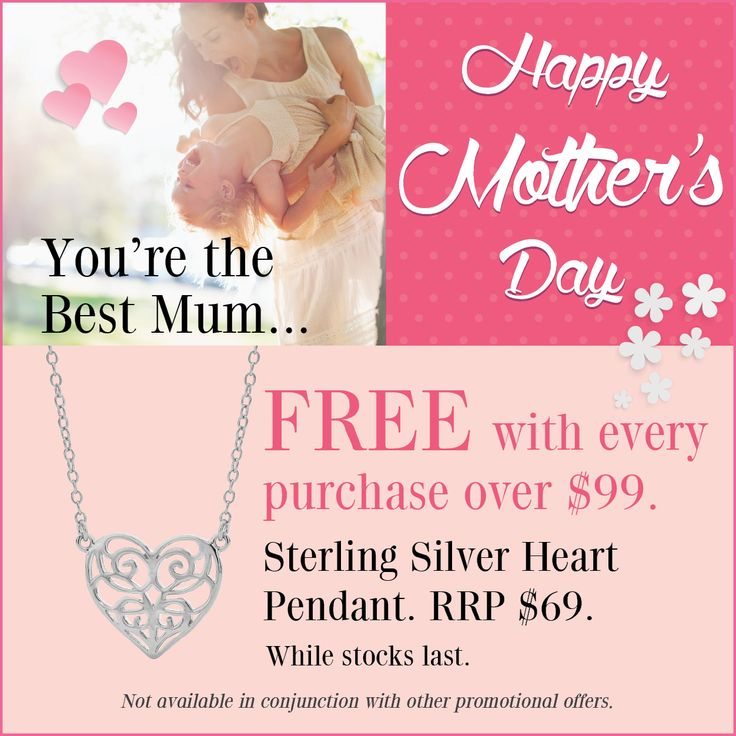Spend $99.00 or more and receive this sterling silver heart pendant. * Conditions Apply