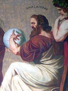 Anaxágoras (500 - 428 a. C.) fue un filósofo presocrático que introdujo la noción de nous (νοῦς, mente o pensamiento) como elemento fundamental de su concepción física.  Nació en Clazómenas (en la actual Turquía) y se trasladó a Atenas (hacia 483 a. C.), debido a la destrucción y reubicación de Clazómenas tras el fracaso de la revuelta jónica contra el dominio de Persia. Fue el primer pensador extranjero en establecerse en Atenas.