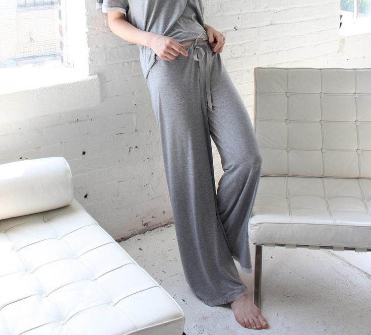 Pajama Pant, Lounge Pant, Sleep Pant in Softest Stretch Jersey knit, draped to perfection, eliminating the outer seam for superior comfort. Lounge to perfection in this raw edge lace trimmed pant with petersham ribbon tie.   Venus in Play Pajama Lounge Pant in Heather Grey | Luxury Knit Nightwear | Between the Sheets Loungewear