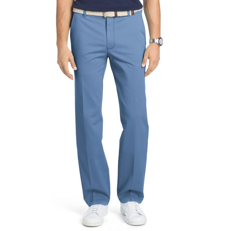 Men's IZOD Straight-Fit Performance Plus Flat-Front Chino Pants, Dark Blue