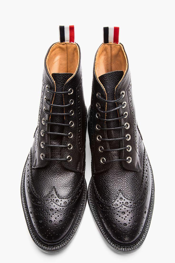 thom browne black scotchgrain leather wingtip brogue boots