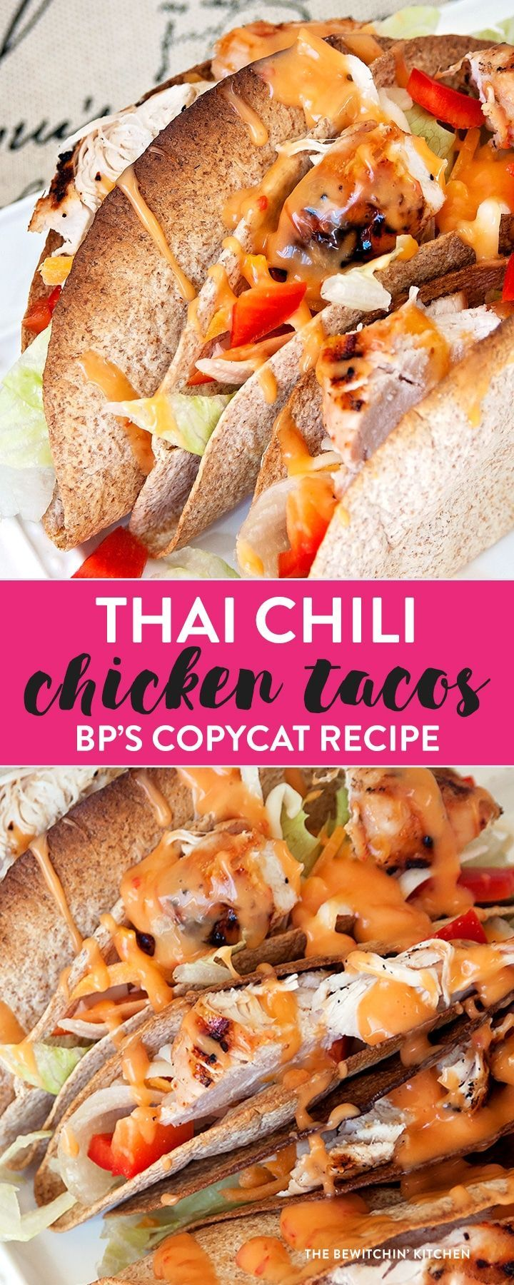 Thai Chili Chicken Tacos recipe - This healthy taco recipe was inspired by one of my favorite meals at Boston Pizza. It's an easy meal to throw together - perfect for summer and I love the thai chili mayo combo!