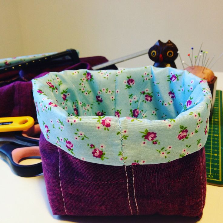 Upcycled charity shop finds into a thread catcher