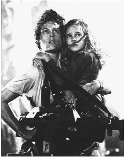 Sigourney Weaver as Ripley and Carrie Henn as Newt, Aliens, 1986