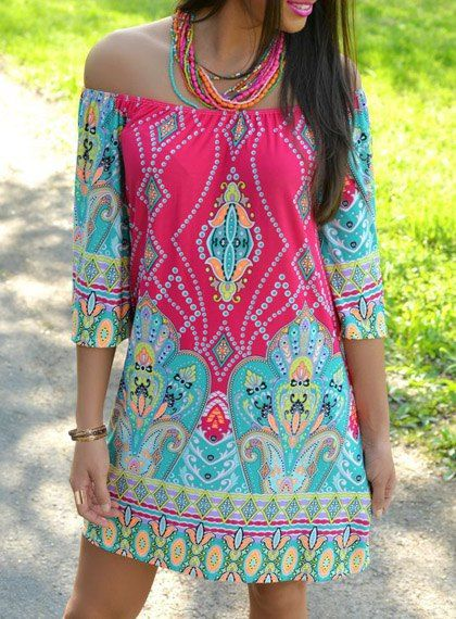 Bohemian Style Off The Shoulder 3/4 Sleeve Printed Women's Dress
