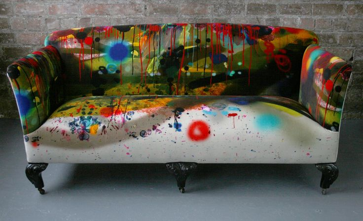 Grafiti Stripe couch by Timorous Beasties - a company that sources & re-upholsters antique & vintage furniture to create unique pieces. This just makes me smile. :)