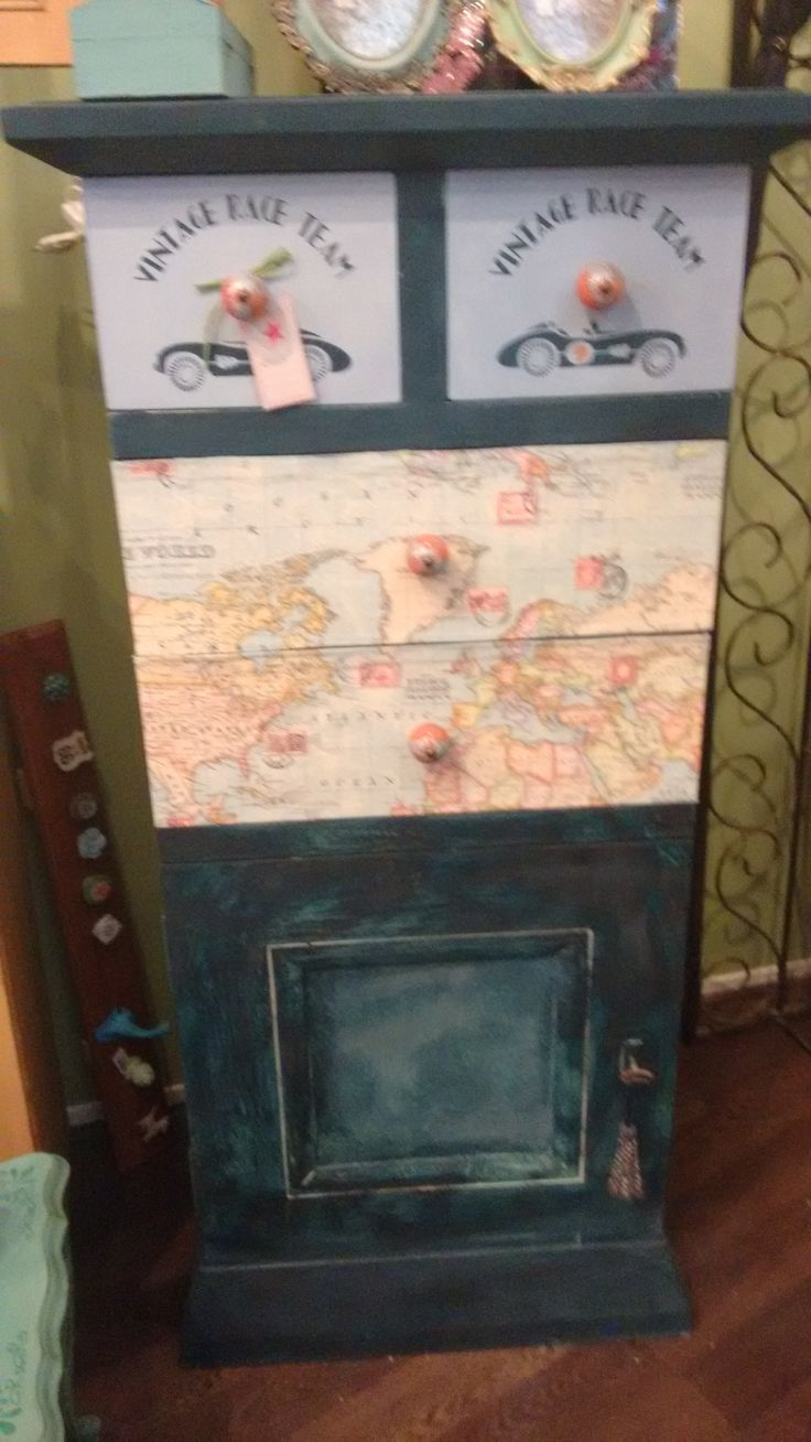 SOLD -Chest painted in Aubusoon Blue and decoupaged with fabric. Available @Dress it up Hilversum