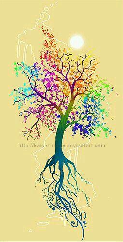 Colorful tree tattoo