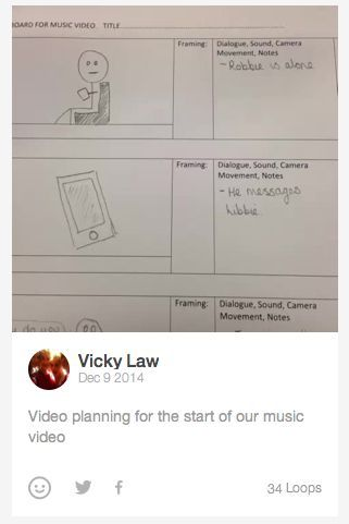 PRE-PRODUCTION: We used Vine to show the process of us planning our video using a storyboard that we created.