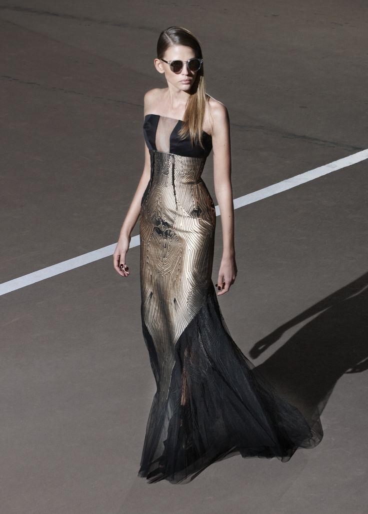 Strapless floor length evening gown