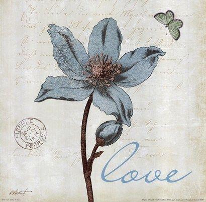 Touch of Blue IV - Love Art Print by Katie Pertiet at Urban Loft Art