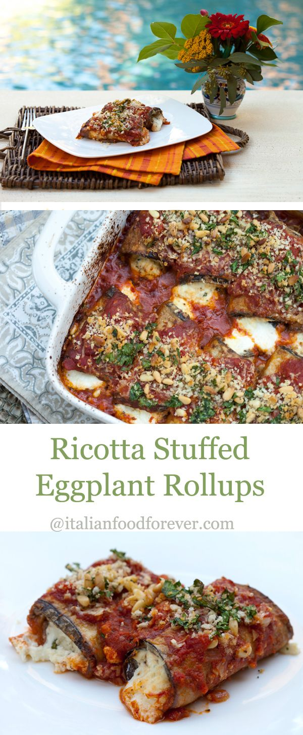 Eggplant Rollups  {Involtini di Melanzane} - Tender fried eggplant cutlets stuffed with a gooey cheesy filling.