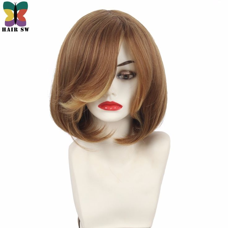 Sale HAIR SW Short Straight Layered Bob Synthetic Wig Bangs With Flip Out Sides Classic Elegance Women. Click visit to read descriptions