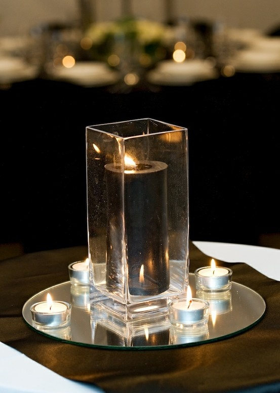 Very Classy A Square Vase Tall Round Candle On A Mirror Base With Tealights Www