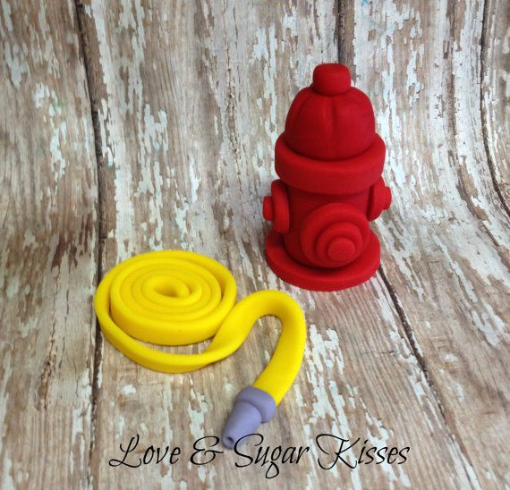 Fondant Cake Topper Fire Hydrant and Fire Hose by lovesugarkisses, $25.00