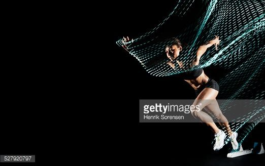Stock Photo : athlete with lighttrace