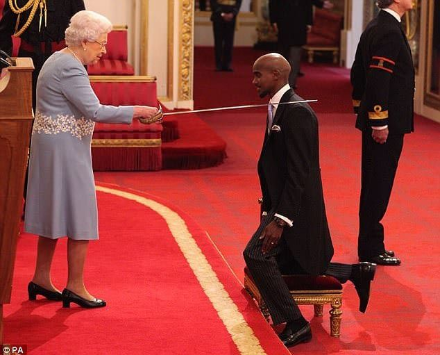 Olympic Champion Mo Farah knighted by Queen Elizabeth