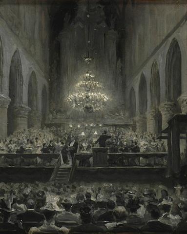 Een concert in de St. Bavo, Haarlem - Onbekend - 1880-1899  Maat: 28cm x 22,5cm  Materiaal: koper en olieverf  Inventarisnummer: E292