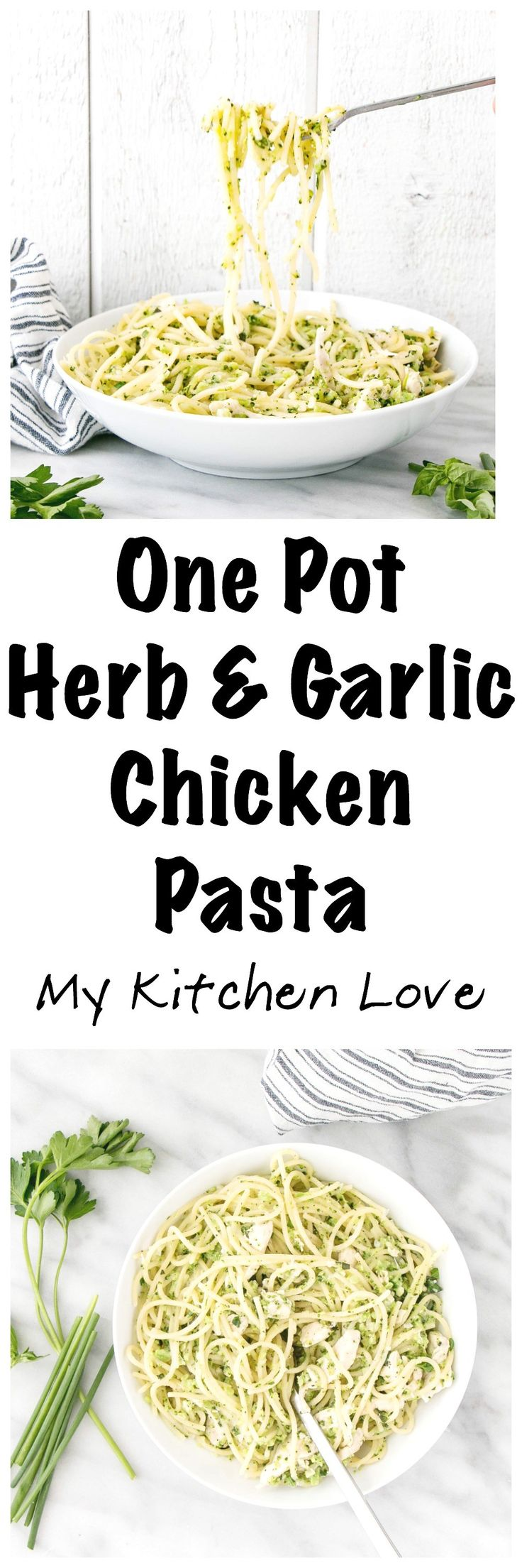 One Pot Herb and Garlic Chicken Pasta is packed with simple but flavourful ingredients the whole family will love! Kid-friendly, one pot and made in under 30 minutes! #kidfriendly #pasta #comfortfood #onepot
