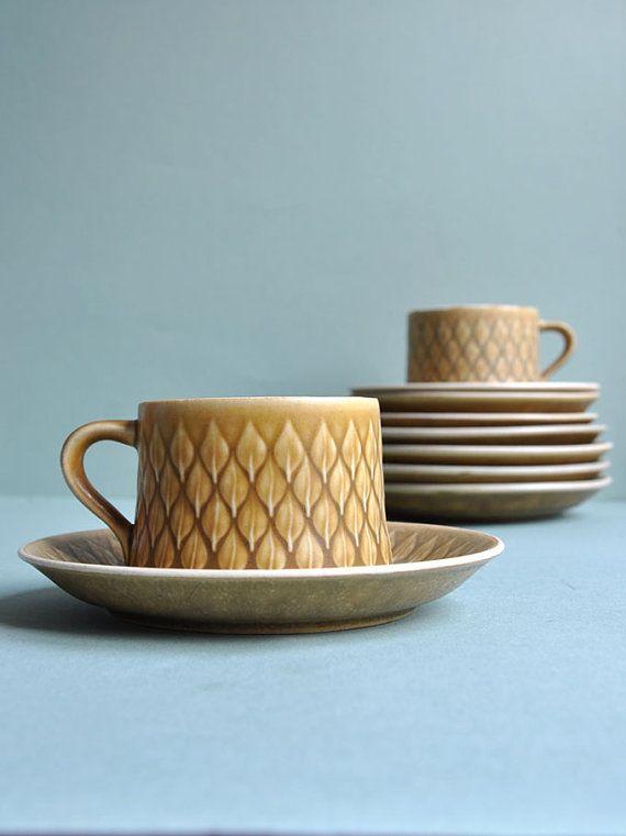 Jens Quistgaard Relief Teacups & Saucers  Set of 4 by MisterTrue, $99.00