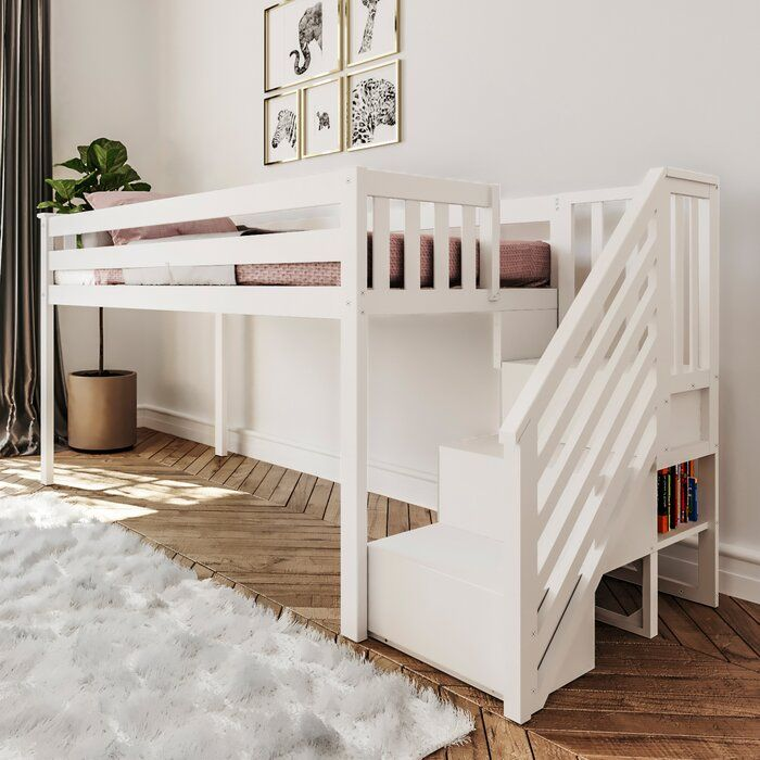 Kittitas Twin Low Loft Bed With Staircase Low Loft Beds Loft