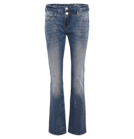 Diese Herrlicher Jeans für Damen in Regular Fit besticht mit auffälligen Waschungen und im angesagten Bootcut-Stil. Der Baumwollmix legt sich sanft auf die Haut.