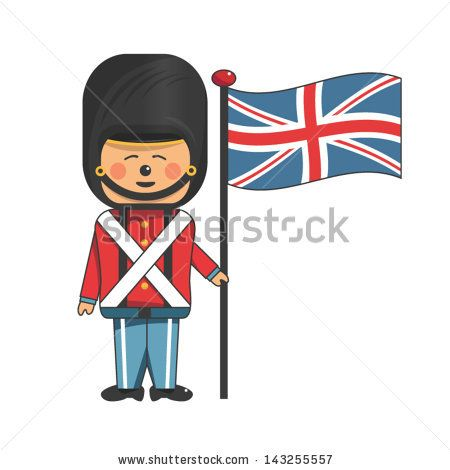 Happy soldier in red uniform holding the british flag - stock vector