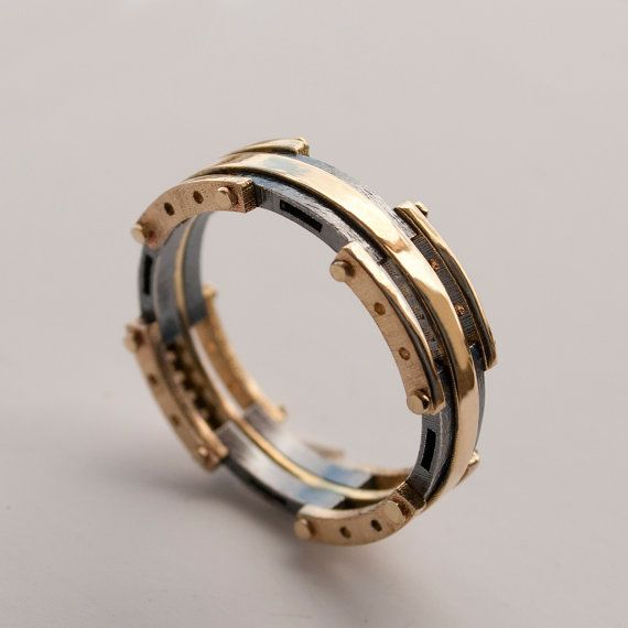 Stunning Gold Wedding Band Men us K Gold and Oxidized Silver by doronmerav