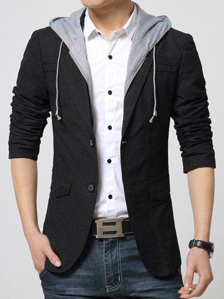 Pocket Design Hooded Detachable Long Sleeve Slimming Trendy Cotton Blend Blazer For Men