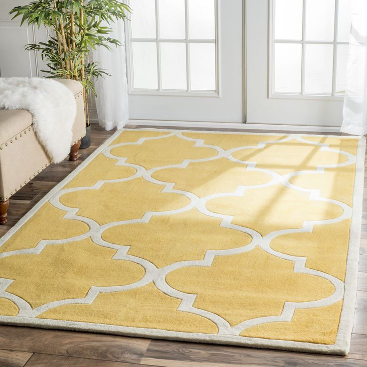 nuLOOM Handmade Luna Moroccan Trellis Yellow Square Rug (6' Square) (Yellow), Ivory, Size 6' x 6' (Polyester, Color Block)