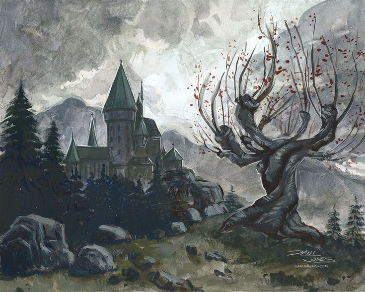Hogwarts and the Whomping Willow by danidraws.deviantart.com on @DeviantArt