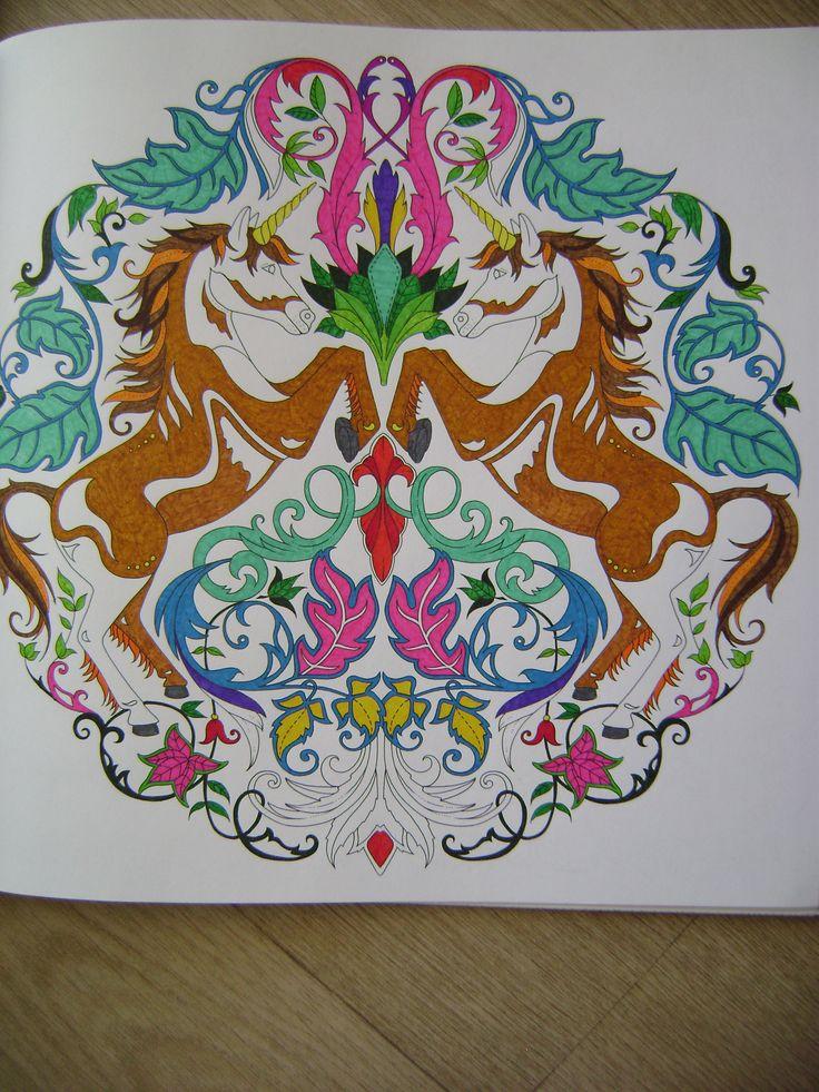 Unicorns Enchanted Forest Unicornios Floresta Encantada Johanna Basford BasfordColouring