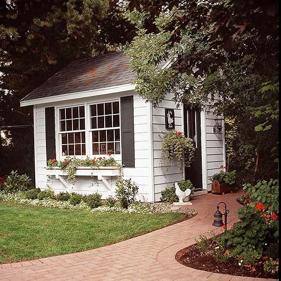 Some of the most interesting garden sheds make use of salvaged materials, such as windows. Repurpose windows and doors for this classic version, or purchase new materials and focus on details, such as the window box.