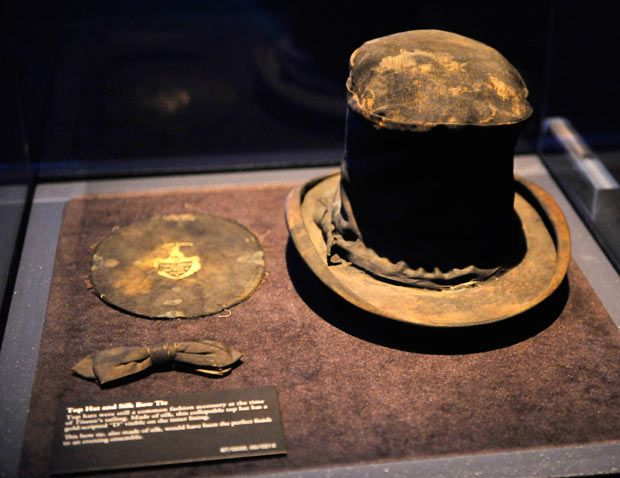 A top hat and silk bow tie recovered from the Titanic.