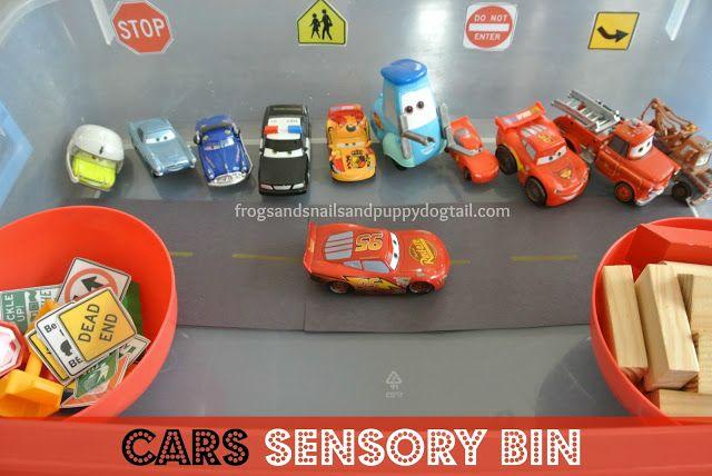 Cars Sensory Bin. Great kids activity.