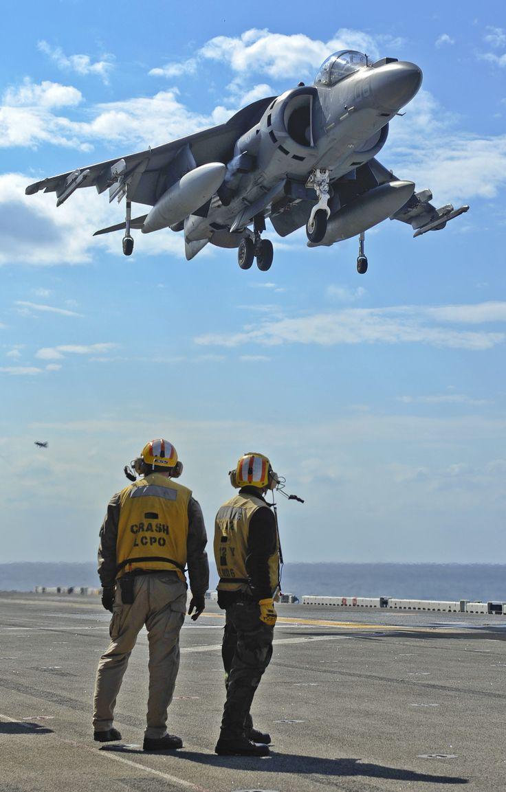 An AV-8B Harrier prepares to land aboard the amphibious assault ship USS Bonhomme Richard (LHD 6).