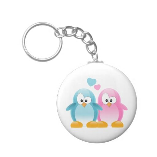 Penguin Love Basic Round Button Key Ring
