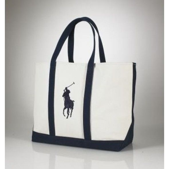 Sale Perfect Greatest Ralph Lauren Big Pony Canvas Handbag Blue Black White