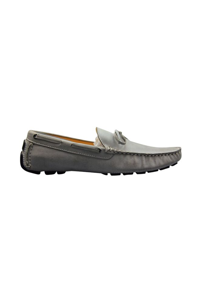 FÅNE - Lace Nubuck Leather Powder Grey Loafers