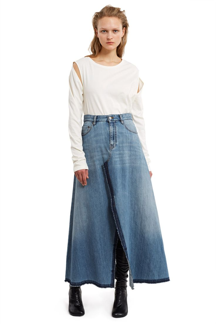 MM6 Maison Margiela, Denim Cut And Sew Maxi Skirt Resembling MM6's extreme wide-leg jean style, this denim maxi skirt comes in a cut-and-sewn construction with a flared, A-line silhouette and slits down both the front and back., High rise, Zip fly, button closure, Five pocket construction, Raw edges, Full length, 100% cotton, Made in Italy