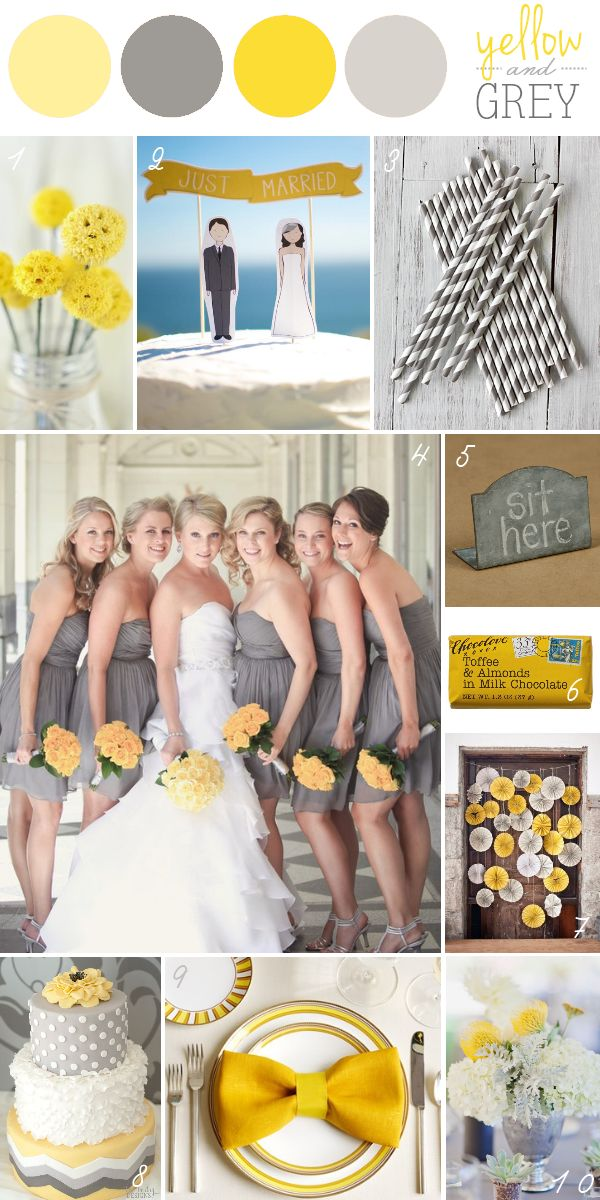 The subtlety of slate grey and the pop of mustard yellow pair beautifully together. Get inspired by this distinctive but elegant wedding color scheme. Yellow Flower Accents: billy buttons displayed...