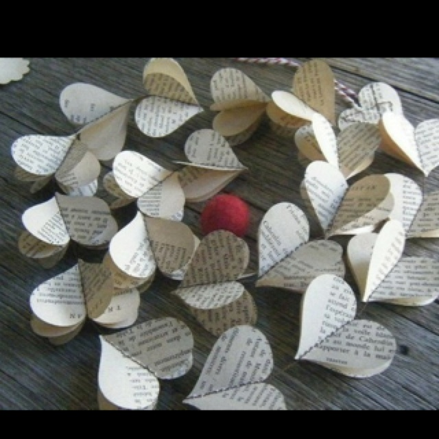 : Ideas, Paper Garlands, Old Book, Heart Garlands, Paper Hearts, Heart String, Book Pages, Sheet Music, Crafts