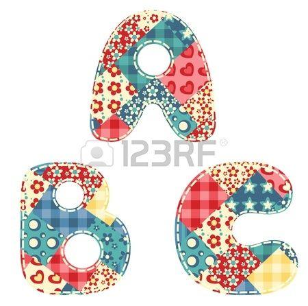 Lettere dell'alfabeto Quilt A, B, C illustrazione vettoriale Archivio Fotografico