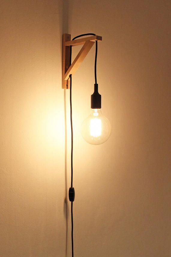 Wall Lamp Plug In Wall Sconce Wooden Lamp Wooden Square Bedroomlighting Holzleuchte Wandleuchte Wandlampe