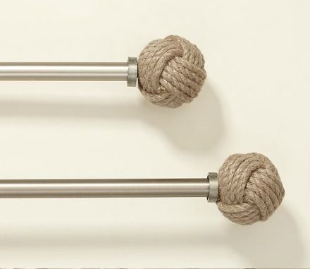 Nautical Rope Finials Curtain Rods: http://www.completely-coastal.com/2013/04/nautical-rope-decorations.html Give your window treatment a nod to nautical!