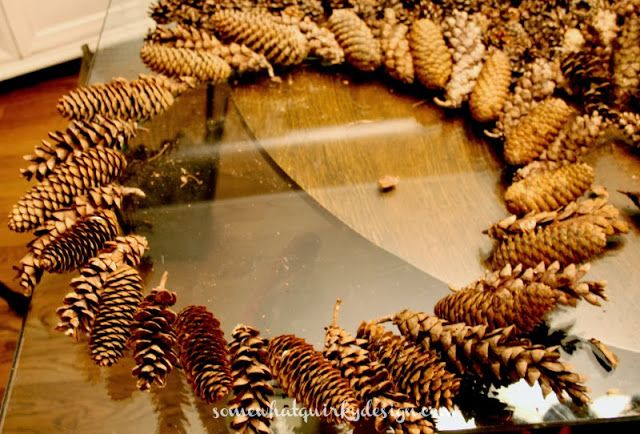 Somewhat quirky how to make a pine cone wreath long for Long pine cones