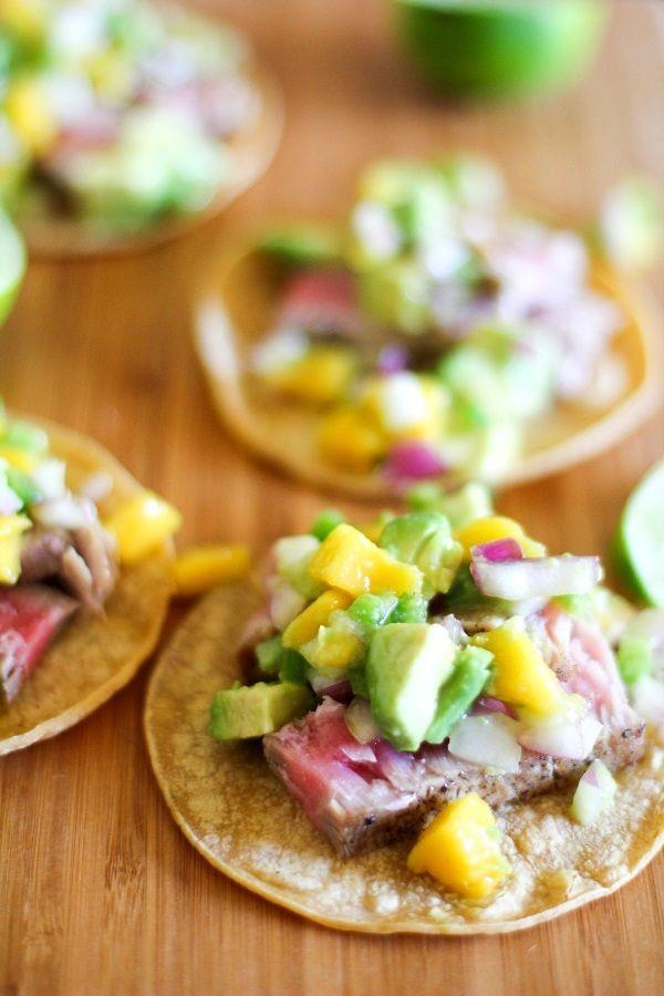 Seared Ahi Tacos with Mango Avocado Salsa #tacos #tuna #avocado