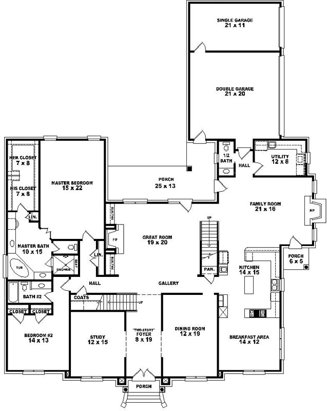Luxury Style House Plans 5120 Square Foot Home , 2 Story