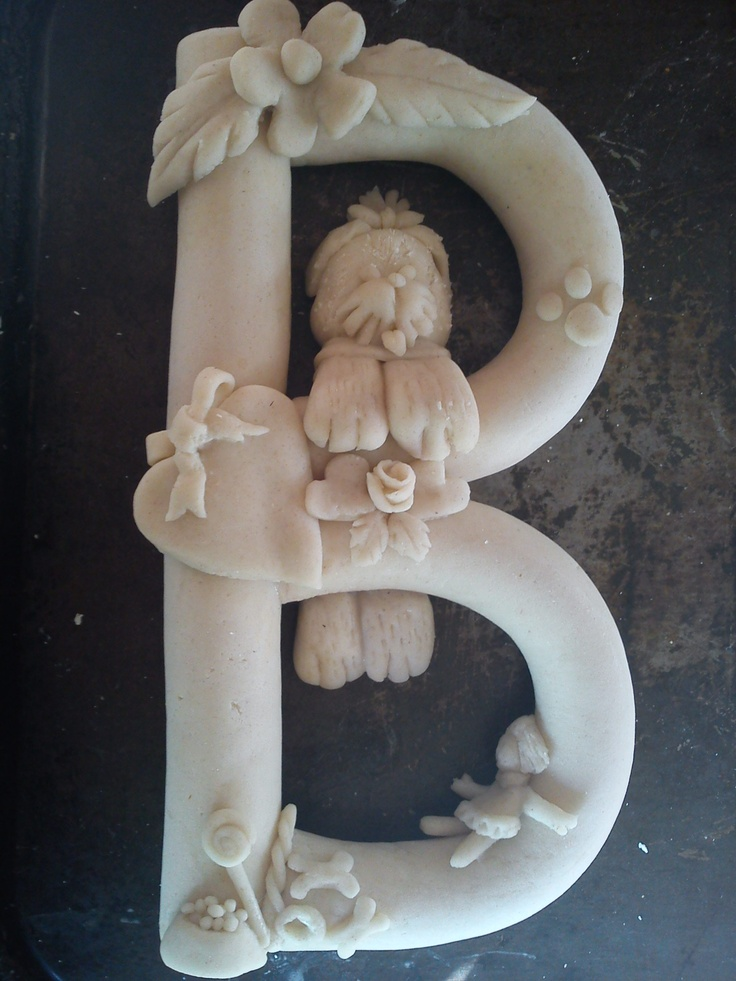 Hand made saltdough letter for hanging up, before being painted