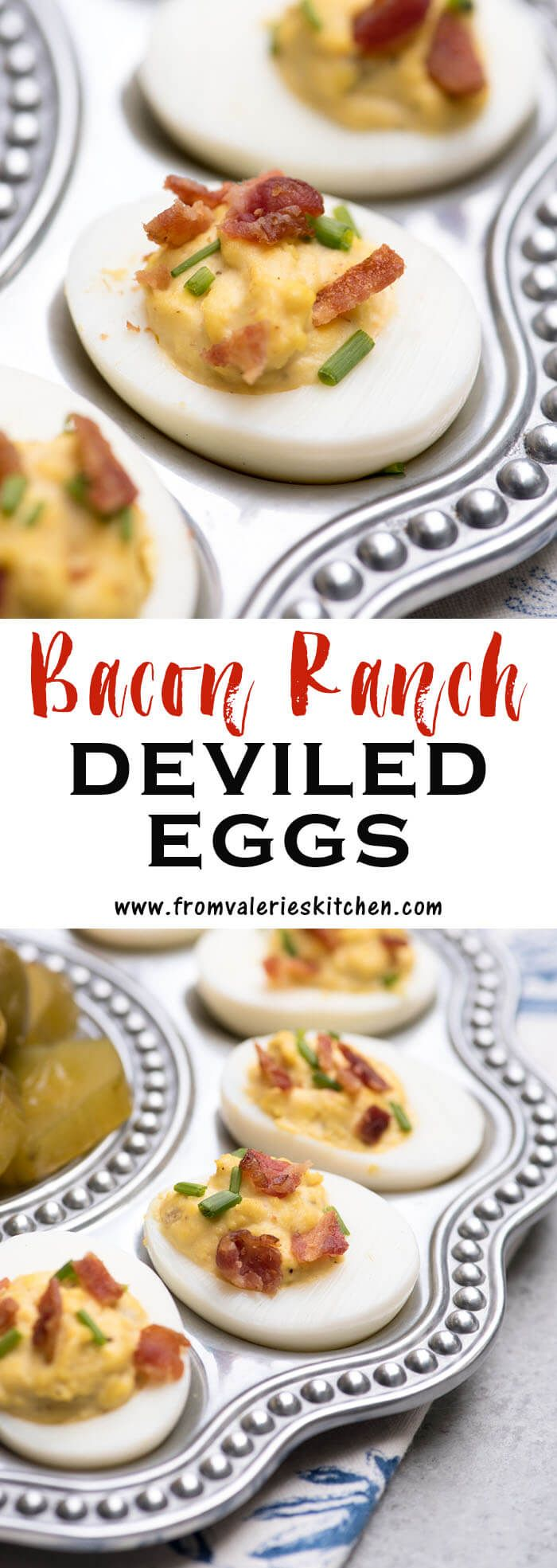 Simple ingredients combine to create these Bacon Ranch Deviled Eggs. A fun twist on classic deviled eggs and a great choice for your appetizer menu!
